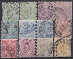 """44/50 """"Pfennig"""" 1875 Komplett, 12 Werte, Div. Farbvarianten - Wuerttemberg"""