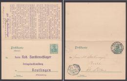 """P 61, Kplt. Doppelkarte Nach Österreich, Zudruck """"Bardtenschlager, Reutlingen"""" - Deutschland"""