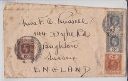 British Ceylon Air Mail Cover Colombo 4 Values To Brighton Sussex Enveloppe Orient Line Ceylan Tarif Etranger 1932 - Ceylan (...-1947)