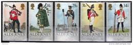Alderney 1985: Historic Uniforms: Michel-No.23-27 ** MNH - Offered At POSTAL FACE VALUE - Alderney