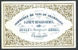 Carte Porcelaine Vins De Champagne  Laurent-Desglissières  RILLY Près De Reims   10 X 6.5 Cm - Reims