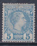 Monaco N° 3 (.)  : Prince Charles III : 5 C. Bleu Neuf Sans Gomme Dents Courtes Sinon  TB - Neufs
