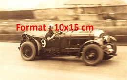 Reproduction D'une Photographie Sépia Ancienne D'une Bentley 45 Litres Cabriolet N°9 En Course - Reproductions