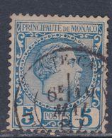 Monaco N° 3 O  : Prince Charles III : 5 C. Bleu  Oblitération Moyenne Sinon  TB - Monaco