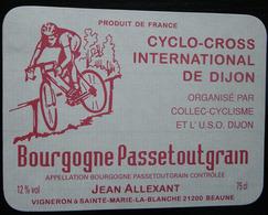 ETIQUETTE CYCLISME CYCLO-CROSS INTERNATIONAL DE DIJON BOURGOGNE PASSETOUTGRAIN - Cyclisme