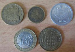 Monaco - Lot De 5 Monnaies 1924 à 1992 - Dont Bon Pour Cinquante Cts Crédit Foncier, 1 Fr, 10 Frs, 20 Frs - Monaco
