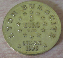 Médaille / Jeton 3 Euros De Lyon - Centenaire De Fourvière 1996 - TBE - Euros Of The Cities