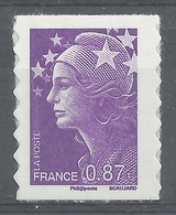 """France, """"Marianne De Beaujard"""", 0.87€, 2010, MNH VF Self-adhesive Stamp - 2008-13 Marianne Of Beaujard"""
