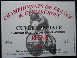 ETIQUETTE CYCLISME CHAMPIONNATS DE FRANCE DE CYCLO-CROSS 8 JANVIER 1995 LAC DES SAPINS CUBLIZE REGNIE - Cyclisme
