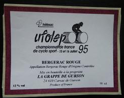 ETIQUETTE CYCLISME UFOLEP TRELISSAC CHAMPIONNATS DE FRANCE DE CYCLO SPORT 1995 BERGERAC ROUGE - Cyclisme