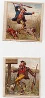 Petite CHROMO 19ème Caricature Chasseur Piège à Loups Fusil Chien De Chasse Orage Lapins (2 Chromos) - Chromos