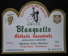 ETIQUETTE CYCLISME BLANQUETTE DES SPORTIFS A.M.V.C.E. MONTAZELS AUDE - Cyclisme