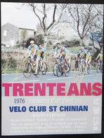 ETIQUETTE CYCLISME TRENTE ANS VELO CLUB SAINT CHINIAN 1976 - Cyclisme