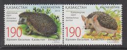 2012 Kazakhstan Hedgehogs Horiz Pair 1 MNH - Kazakhstan