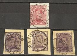 Belgique 1921/2 - Albert Ier - Petit Lot De 4 Fragments D'entiers Postaux - Cachets Abeele - Watou - Frontière - Grens - Autres