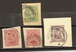 Belgique  - Petit Lot De 4 Fragments D'entiers Postaux - Cachets Roesbrugge - Haringhe - Albert - Petit Sceau De L'Etat - Entiers Postaux