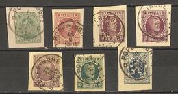 Belgique 1919/29 - Petit Lot De 7 Fragments D'EP - Cachets Poperinghe - Albert - Houyoux - Lion Héraldique - Entiers Postaux