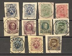Belgique 1919/34 - Petit Lot De 10 Fragments D'EP - Cachets Thielt - Aerseele - Albert - Houyoux - Lion Héraldique - Entiers Postaux