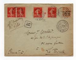 !!! PRIX FIXE : PAIRE DU 10C SEMEUSE AVEC MILLESIME SUR ENTIER POSTAL RECOMMANDE DE 1907 - 1877-1920: Période Semi Moderne