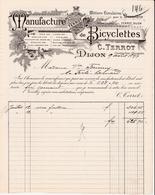 DIJON -21- 2 FACTURES & La TRAITE- Manufacture De Bicyclettes C.Terrot à Dijon -Ref:A7578 à 80 - France