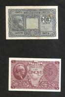 ITALIA - 5 & 10 LIRE  (Decr. 23/11/1944 - Firme: Bolaffi / Simoneschi / Giovinco) - LUOGOTENENZA - Lotto Di 2 Banconote - [ 1] …-1946 : Kingdom