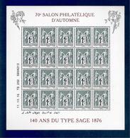 France, Bloc Feuillet, F5094, 5094/5095, Bloc Neuf **, TTB, 140 Ans Du Type Sage 1876, 70e Anniversaire Du Salon - Blocs & Feuillets
