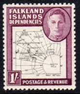 Falkland Island Dependencies 1948 'Thin Maps' 1/- Value, Hinged Mint, SG G16 - Falkland Islands