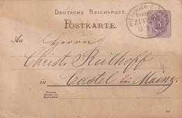 ALLEMAGNE 1888 CARTE DE KAUB  CACHET   FERROVIAIRE WIESBADEN- ??? - Storia Postale