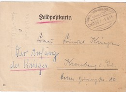 ALLEMAGNE 1939 FELDPOSTKARTE CACHET   FERROVIAIRE SAARBRÜCKE-BINGERBRÜCK - Briefe U. Dokumente