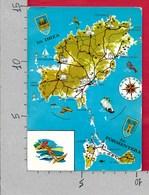 CARTOLINA VG SPAGNA - Mapa De IBIZA Y FORMENTERA - Carta Geografica - 10 X 15 - ANN. 19?? - Carte Geografiche