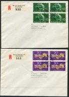 1949 Switzerland UPU First Day Cover. Blocks Of 4 Registered Kreuzlingen FDC - FDC