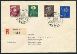1949 Switzerland Stamp Day, Tag Der Briefmarke, Journee Du Timbre, Vevey Registered Cover. Pro Juventute - Pro Juventute