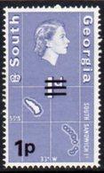 South Georgia 1971-6 Decimal Currency 1p On 1d Value, MNH, SG 19 - Falkland Islands