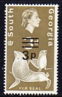 South Georgia 1971-6 Decimal Currency 3p On 3d Value, MNH, SG 23 - Falkland Islands