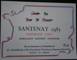 ETIQUETTE CYCLISME CUVEE TOUR DE FRANCE SANTENAY 1985 PREMIER CRU - Cycling
