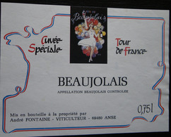 ETIQUETTE CYCLISME CUVEE SPECIALE  TOUR DE FRANCE BEAUJOLAIS ANSE - Cycling