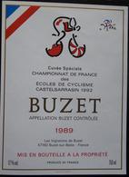ETIQUETTE CYCLISME BUZET CHAMPIONNATS DE FRANCE DES ECOLES DE CYCLISME CASTELSARRAZIN 1982 - Cycling