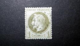 FRANCE 1870 N°25 OBL. (NAPOLÉON III LAURÉ. SECOND EMPIRE. 1C OLIVE SUR AZURÉ. LÉGENDE EMPIRE FRANÇAIS) - 1863-1870 Napoléon III Lauré