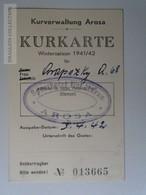 J224.11 Suisse - Kurkarte , Société Des Hoteliers - Cachet - Sporthotel Hof Maran AROSA   -1942 - Tickets D'entrée