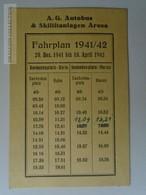 J224.11 Suisse - Switzerland A.G. Autobus & Skiliftanlagen AROSA -FAHRPLAN  1941/42 - Europe