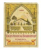 ETIQUETTE VIN VIEUX CHATEAU BOURGNEUF 1966 POMEROL M. LARTHOMA & FILS PROPRIETAIRES 33 - Bordeaux