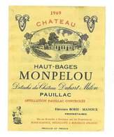 ETIQUETTE VIN CHATEAU HAUT-BAGES MONPELOU 1969 PAUILLAC CHATEAU DUHART-MILON HERITIERS BORIE-MANOUX BORDEAUX 33 - Bordeaux