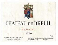 ETIQUETTE VIN COTEAUX DU LAYON CHATEAU DU BREUIL 1966 BEAULIEU NICOLAS - White Wines