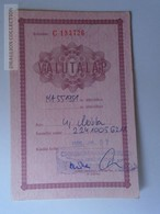 J226.4 Hungary Valuta Lap Foreign Currency Document For Custom - USD  1992 - Chèques & Chèques De Voyage