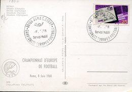 38999 Italia, Special Postmark 1968 Roma,  Football European Champ.  UEFA - Fußball-Europameisterschaft (UEFA)