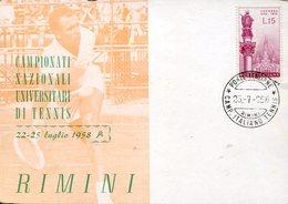 39001 Italia, Special Postmark 1958 Rimini, Tennis Italian University Champ. 1958 Rimini - Tennis