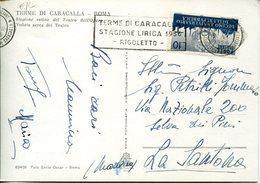 "39002 Italia, Special Postmark Slogan 1956 Roma Terme Caracalla,lyrical Season Opera ""rigoletto"" Of Giuseppe Verdi RR - Musik"