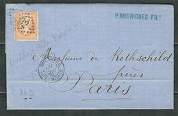 FRANCE 1865 N° 23 S/Lettre Obl. GC532 Bordeaux + C à D Boite Mobile - 1862 Napoleon III