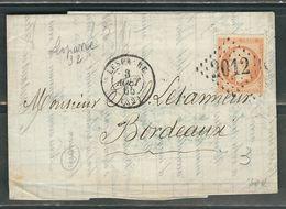 FRANCE 1865 N° 23 S/Lettre Obl. GC 2012 Lesparre - 1862 Napoleon III