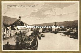 CARLSHAFEN A.d. Weser, Hafenplatz (1920s) AK - Bad Karlshafen